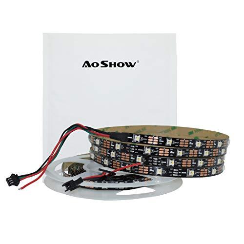 Aoshow SK6812 RGBW Individually Addressable LED Pixel Strip DC5V 4 Color in 1 RGB+White 6000K 30LEDs/30Pixels/M 16.4FT 150LEDs 5M SPI/DVI Signal Non Waterproof IP20 Black PCB