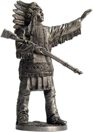 The Leader of the Indians Tin Toy Soldiers Metal Sculpture Miniature Figure Collection 54mm (scale 1/32) (WW-3)