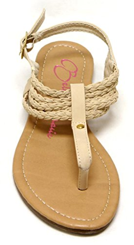 Bella Marie Draft-3 Womens cool buckle ankle strap plaited T-strap thong PU Sandals Beige low2X9wcg6