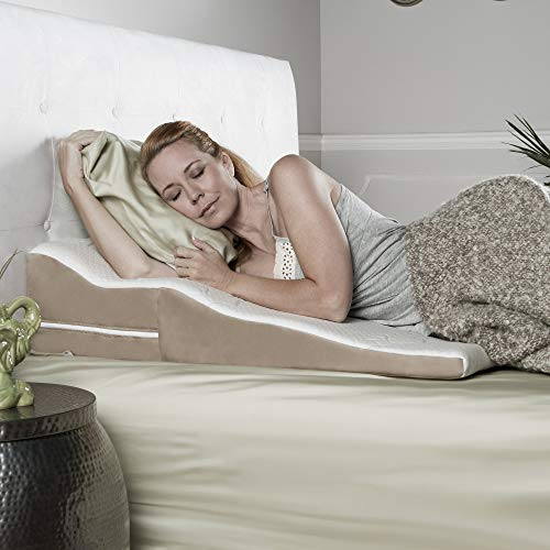 Avana Contoured Bed Wedge Support Pillow for Side Sleepers with Gel-Infused Cooling Memory Foam