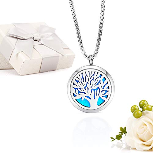 """Essential Oil Diffuser Aromatherapy Necklace,Stainless Steel Magnetic Pendant Locket Necklaces with 26"""" Chain and 8 Color Pads,Girls Women Jewelry Gift Set (Tree of Life)"""