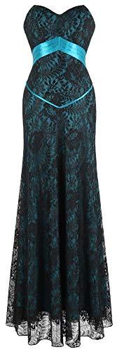 Angel-fashions Women's Sheath Strapless Crystal Brooch Draped Empire Wedding Dress (S, Turquoise)