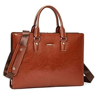 BOSTANTEN Genuine Leather Briefcase Vintage 15.6 inch Laptop Message Bag Business Shoulder Bag for Men Brown