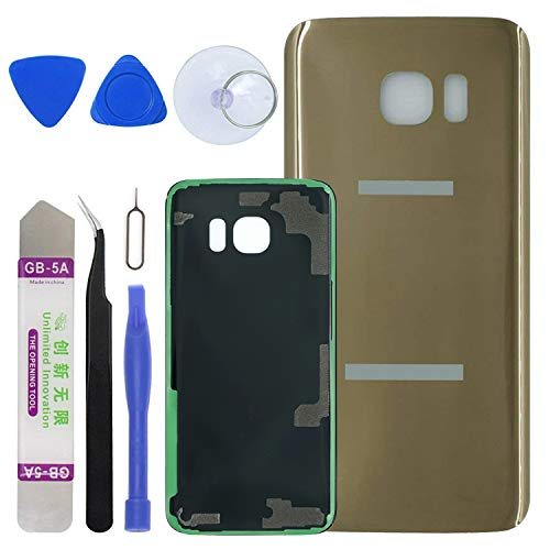 LUVSS [Extra Adhesive] Back Glass Replacement for Samsung Galaxy S7 Edge G935 (All Carriers) Rear Cover Glass Panel Case Housing with Opening Tools Kit (Gold)