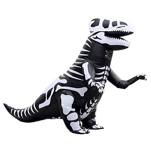 Skeleton T-Rex Inflatable Dinosaur Costume Suit for Adult Halloween Dino Theme Party Dress Brown (Skeleton T-rex) -