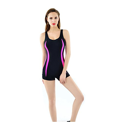 Lora Dew(TM) Professional Sports Swimsuits One Piece Boxers Athletic Swimwear Tankini,black-M