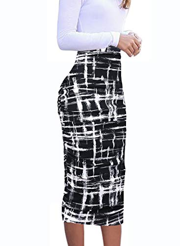 VFSHOW Womens Black and White Geometric Print Ruched Ruffle High Waist Casual Work Office Party Pencil Midi Mid-Calf Skirt 3272 BLK ()
