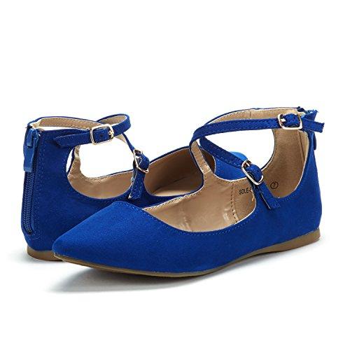 DREAM PAIR Frauen Sole-Riemchen Ankle Straps Flats Schuhe Königsblau