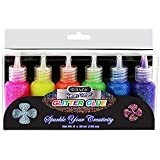 6 Color Glitter Glue Set 20 ml Bottles - NEON Colors - Green, Orange, Pink, Yellow, Blue, and Purple (1 Unit)