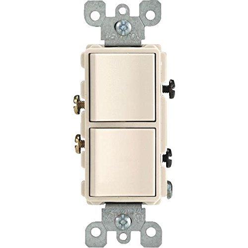 Leviton 5634-TS Decora 5634-T 15 Amp, 120/277 Volt Single-Pole AC Combination Switch, Light - Pole Switch Single Almond