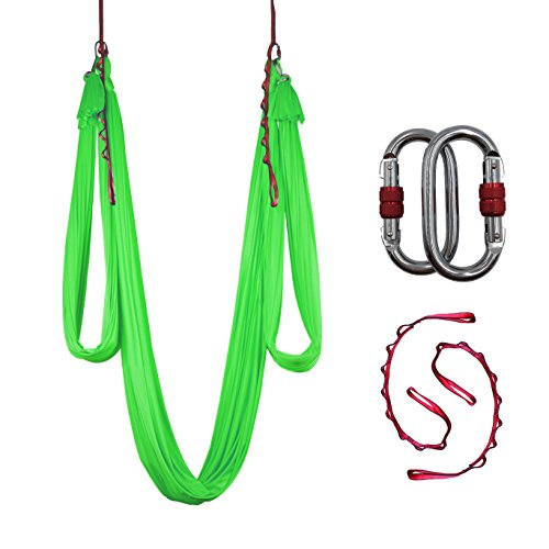 Dasking Deluxe 10m/set Yoga Swing Aerial Yoga Hammock kit with Daisy Chains Carabiners, Fabric & Guide (Light Green)