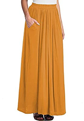 CoutureBridal Womens Spandex Long Skirt Casual Shirring Ankle Length Maxi Skirts With Pockets