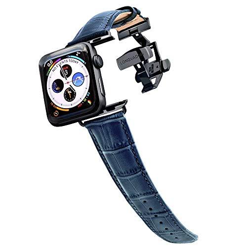 Longvadon Men's Caiman Series Watch Band - Compatible with Apple Caiman Series Watch Series 1, 2, 3 & 4 - Genuine Top Grain Leather (Navy Blue, Black, 42/44 - L) Alligator Grain Leather Band