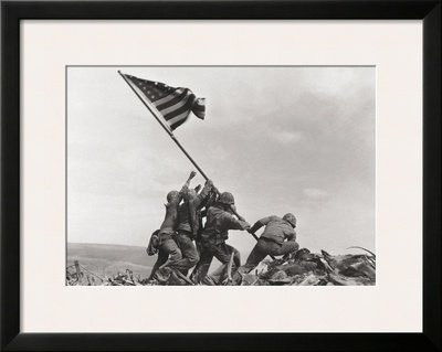 (Flag Raising on Iwo Jima, c.1945 Framed Art Poster Print by Joe Rosenthal, 28x23)