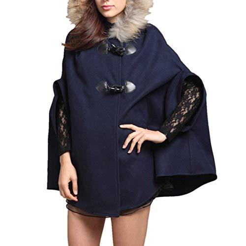 Vintage A Capa Eleganti Con Autunno Poncho Stola Giacca Calda Farfalla Manica Invernali Donna Cravatta Cappotto Incappucciato Baggy Pipistrello Dunkelblau Fashion T1XnOqAwFx