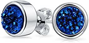 Bling Jewelry Dyed Blue Druzy Quartz Stud Earrings 8mm Rhodium Plated