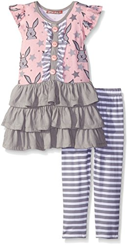 Jelly The Pug Little Girls' Toddler Tara Bunnies and Stars Knit Set, Multi, 2T - Tara Single