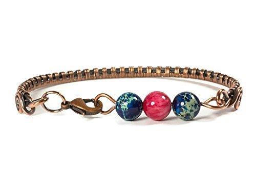 Copper Bangle Bracelet for Women with Blue Variscite and Pink Jasper for Medium - Jasper Variscite