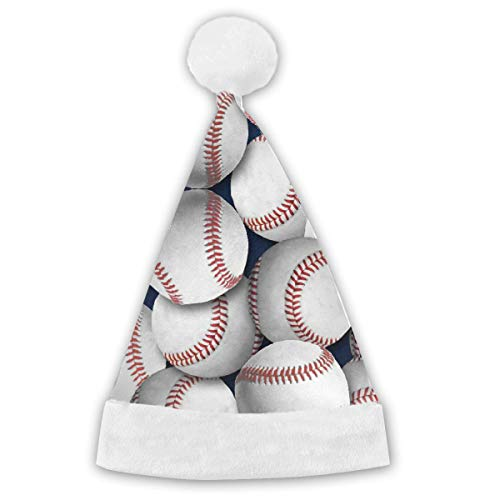 Baseball Snuggle Flannel Fabric Christmas Santa Hat Holiday Novelty Hat Christmas Party Hat for Adults&Children ()