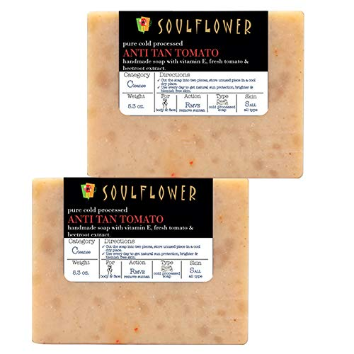 Anti-Tan Tomato Handmade Soap by Soulflower, (5.3Oz x 2 bars) 100% Natural, Organic, Vegan & Coldprocessed - Skin Brightening, lightens Suntan and cleanses skin - USFDA approved, Indian ()