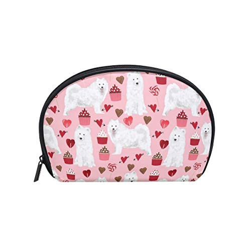 (Half Moon Cosmetic Beauty Bag Samoyed Dog Travel Handy Organizer Makeup Pouch for Women Girls)