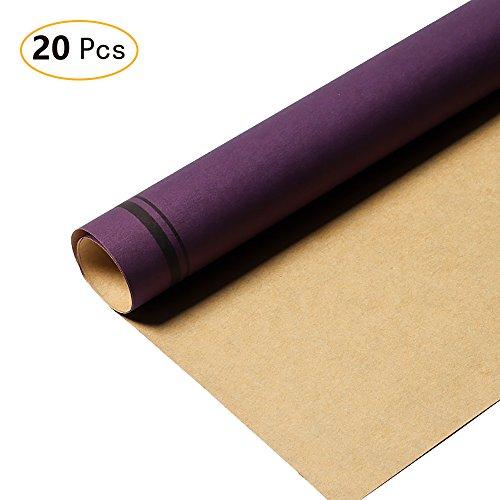 Zhi Jin Kraft double Couleur papier cadeau Art Fleur Ensemble de papier d'emballage pour Vacances Mariage 20feuilles/Lot violet