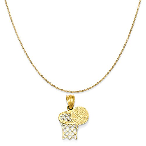 (Mireval 14k Yellow Gold Basketball and Hoop Pendant on a 14K Yellow Gold Rope Chain Necklace, 16