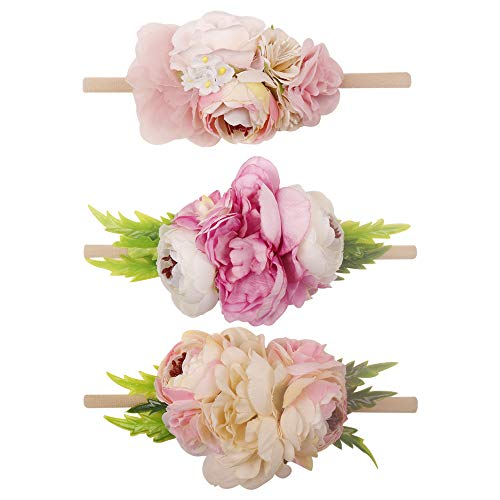 Baby Girls Floral Headbands-Ncmama Nylon Flowers Crown Hairbow Bands For Newborn Infant Toddlers Pack of 3 ()