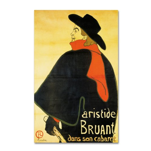 Trademark Fine Art Aristide Bruant Artwork by Henri Toulouse-Lautrec, 30 by 47-Inch Canvas Wall Art ()