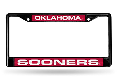 Rico Industries NCAA Oklahoma Sooners Laser Cut Inlaid Standard Chrome License Plate Frame, 6