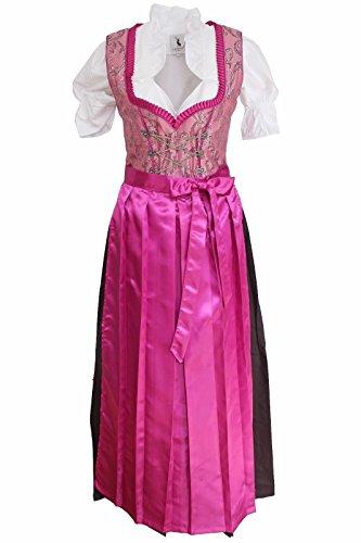 Alpenmärchen, 3tlg. Dirndl-Set lang - Trachtenkleid, Bluse, Schürze, Gr. 34-60, pink - ALM502F