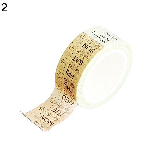 Aland Week Time Schedule Washi Paper Decorative DIY Sticky Scrapbooking Adhesive Tape 2#]()