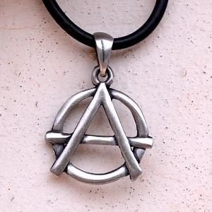 Anarchy Symbol of freedom Pewter Pendant w PVC Choker Necklace