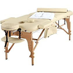 SierraComfort All Inclusive Portable Massage Table, Cream