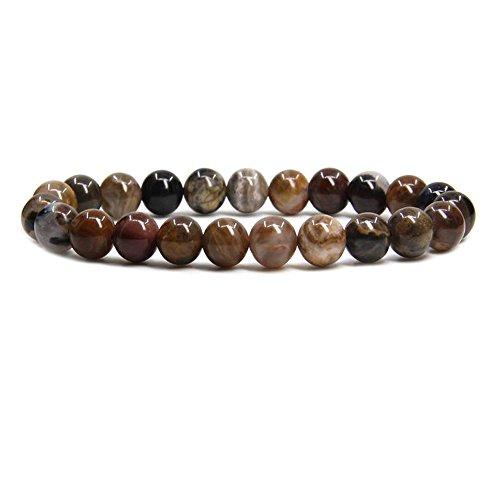 African Wood Agate Gem Semi Precious Gemstone 8mm Ball Beads Stretch Bracelet 7