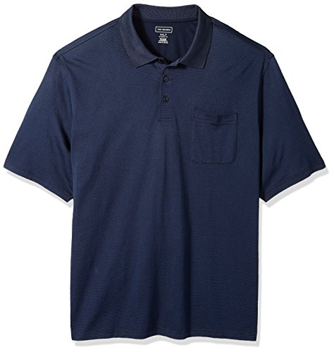 Textured Jacquard Golf - Van Heusen Men's Size Big and Tall Short Sleeve Jacquard Stripe Polo Shirt, Majestic Blue, Large
