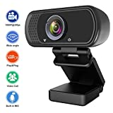 1080P Webcam, Hrayzan Live Streaming Computer Web Camera with Stereo Microphone, Desktop or Laptop USB Webcam with 110-Degree View Angle, HD Webcam for Video Calling Recording Conferencing