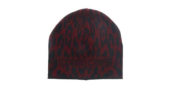 2a398f75d54e2 Roberto Cavalli ESZ026 02000 Maroon Jaguar Beanie Hat for mens at Amazon  Men s Clothing store