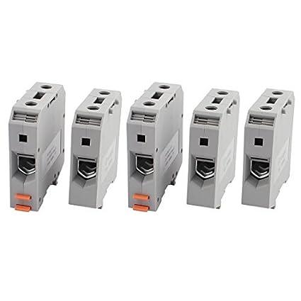 Amazon.com: eDealMax 5 x UKH50 1000V 150A del montaje del carril 50mm2 Cable Tipo de tornillo del bloque de terminales gris: Electronics