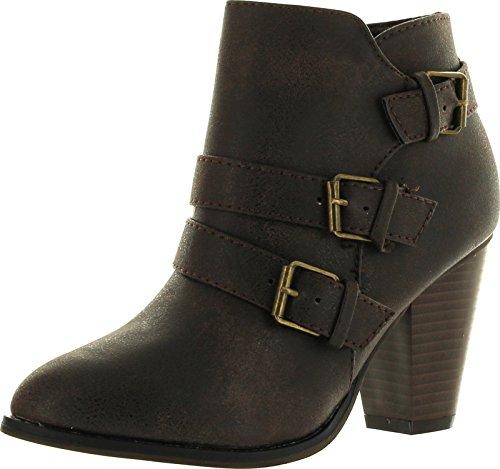 Forever Women's Buckle Strap Block Heel Ankle Booties, Brown 8.5