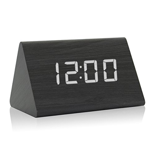 Triangle Clock Black (GZMAY Triangle Wooden Alarm Clock Acoustic Control LED Digital Clock 3 Levels Adjustable Brightness 3 Groups of Alarm Time with Displays Time Date Temperature and Humidity (Black))