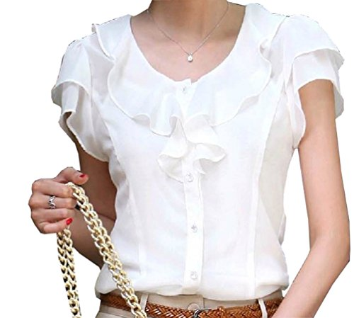 e54371141b24b Women Chiffon Blouse Short Sleeve Elegant Shirt Korean Fashion Work Tops