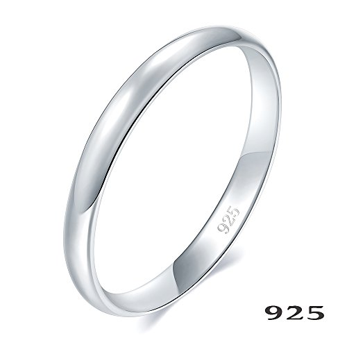 925 Sterling Silver Ring High Polish Plain Dome Tarnish Resistant Comfort Fit Wedding Band 2mm Ring Size 7 (Ring Pinky)