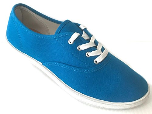 Turquoise Canvas Footwear - Easy USA Womens Lace Up Canvas Plimsol Sneakers Shoes Turquoise 11