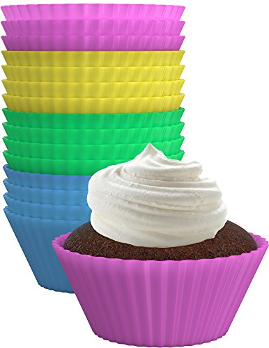 Vremi Silicone Baking Cups - 24 Pack Silicone Cupcake Liners Reusable Baking Cups - Colorful Nonstick Small Baking Cup Mini Cupcake Liners Birthday - Fun Yellow Green Blue Pink Cupcake Liners BPA Free