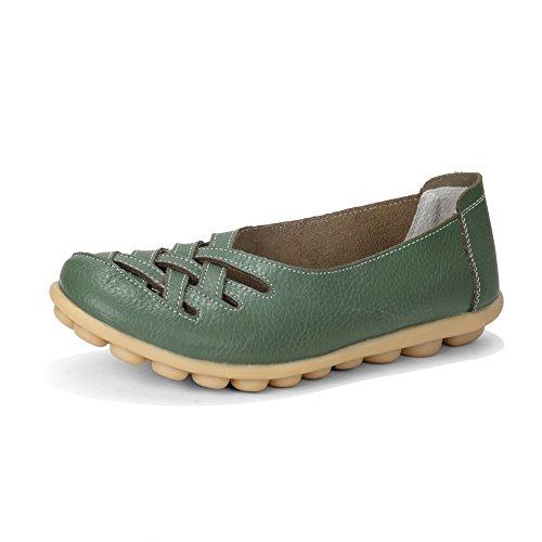 Intérieur De En Des Mocassins Véritables Des L'armée Conduite Décontracté Plat Enfiler À Mocassin Fereshte De Pantoufles Femmes Cuir Chaussures Vert Découpe WaOnxXHH