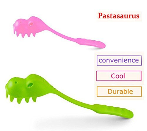 - Pastasaurus Dinosaur Pasta Server Set of 2 Pink and Green Spoon Fork for Spaghetti Cute Kitchen Utensil