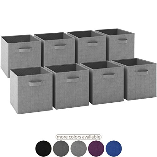 Royexe LAUNCH SALE - Storage Cubes | [Set of 8] Foldable Fabric Bins | Features Dual Handles | Collapsible Organizer Storage Baskets| Folding Closet Drawer Cube. (Light Grey) (Bins Storage Set Folding)