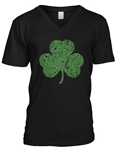 Amdesco Men's Faded Shamrock, Lucky Clover ST Patricks Day V-Neck T-Shirt, Black (Faded Black T-shirt)