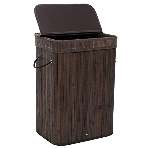 SONGMICS Bamboo Laundry Hamper Storage Basket Folding Dirty Clothes Hamper with Lid Handles and Removable Liner Rectangular Dark Brown ULCB10B (Hamper Baskets)